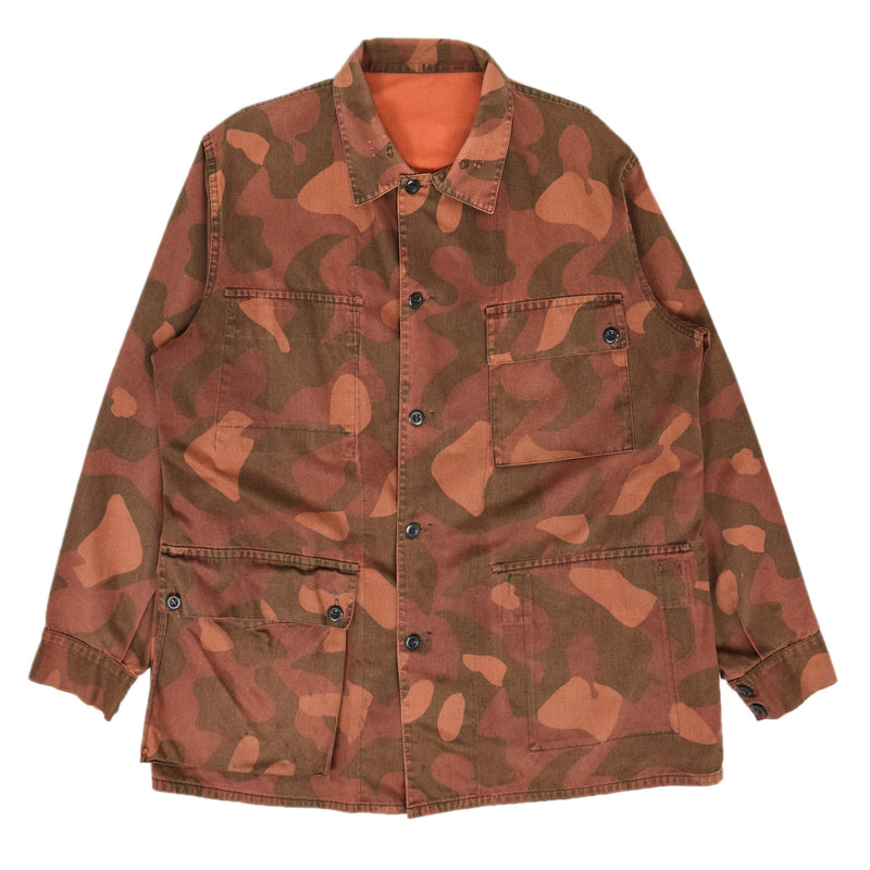 Vintage 80s Military Finnish Army Orange Overdyed Camo Mountain Field Jacket XL FRONT