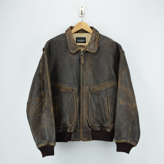 Vintage 70s Brown Distressed Leather Flight Bomber Jacket Made in USA L / XL front