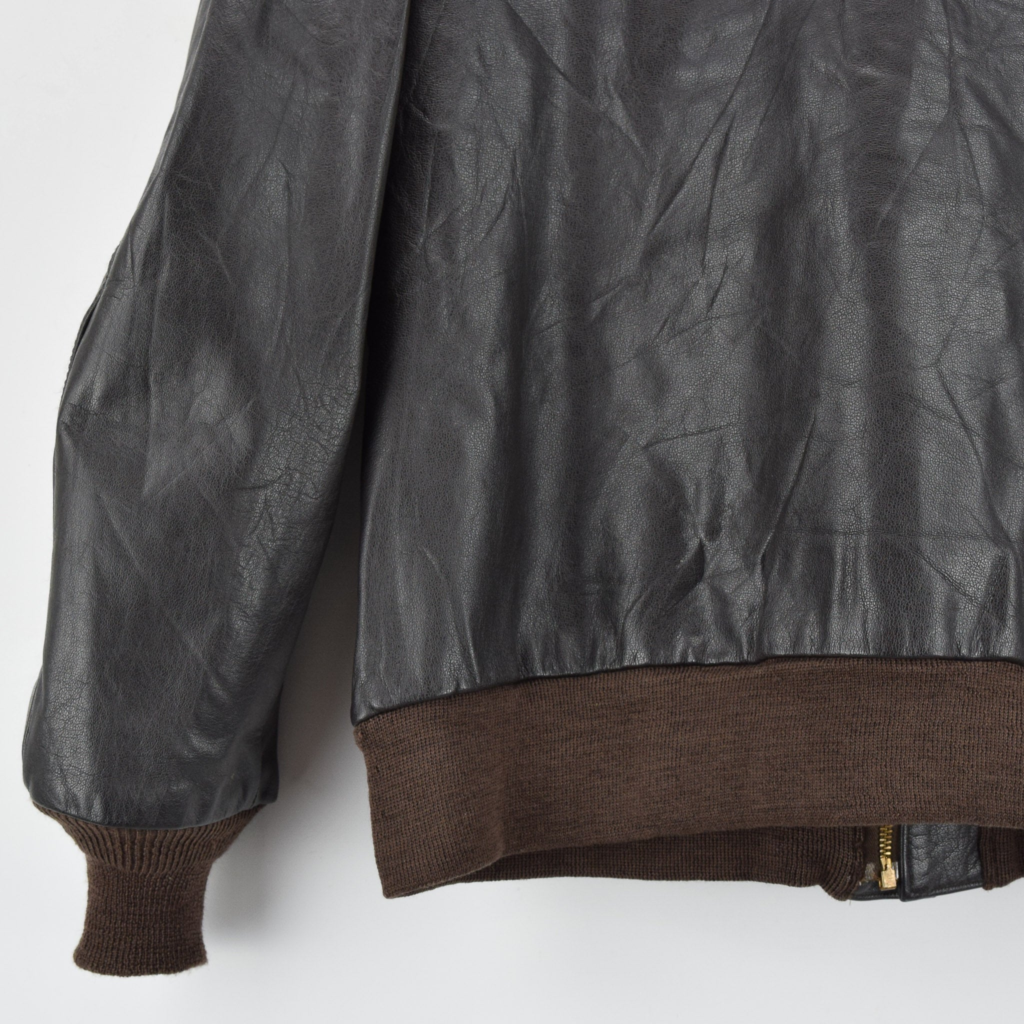 a68d5e488 USAF A-2 Brown Buffalo Leather Flight Bomber Jacket Made In USA Scovill Zip  L