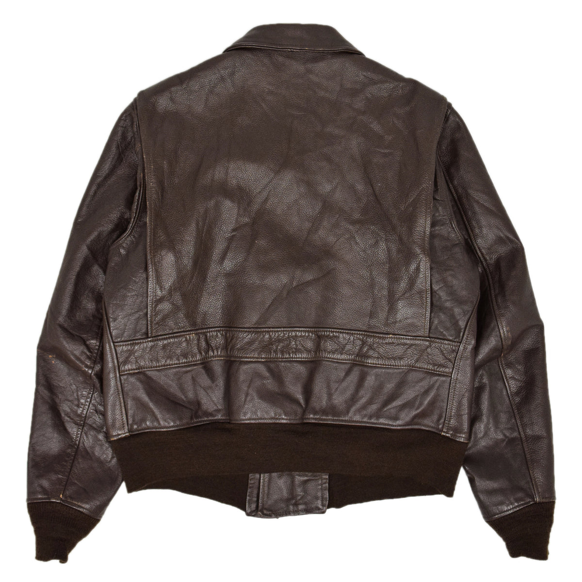 Vintage 1970 US Navy G-1 Brill Bros Vietnam Leather Flying Bomber Jacket L / XL back