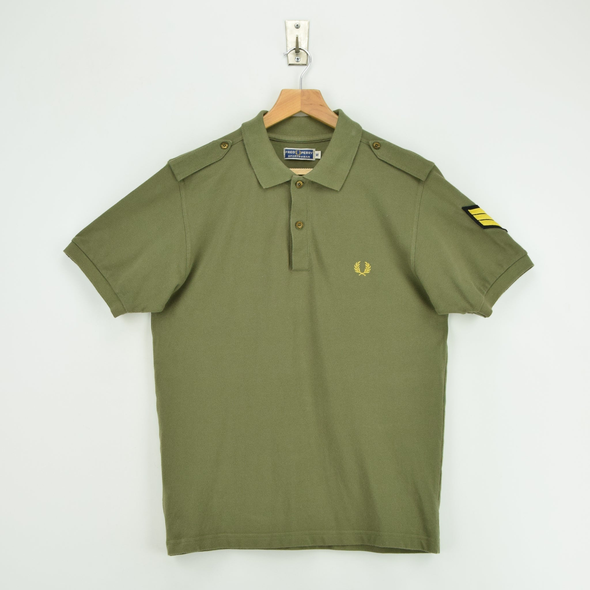 Vintage Fred Perry Green Short Sleeved Military Style Polo Shirt M front