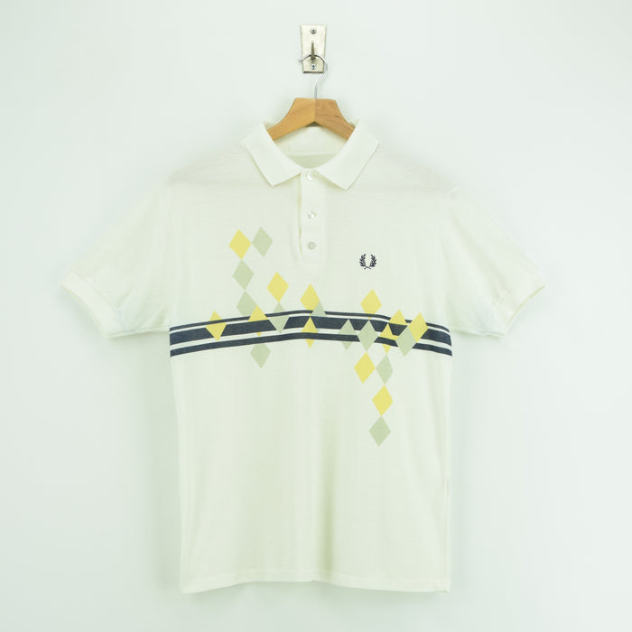 8cfb66e7c ... Vintage Fred Perry Off White Pattern Short Sleeved Polo Shirt England  Made S / M front