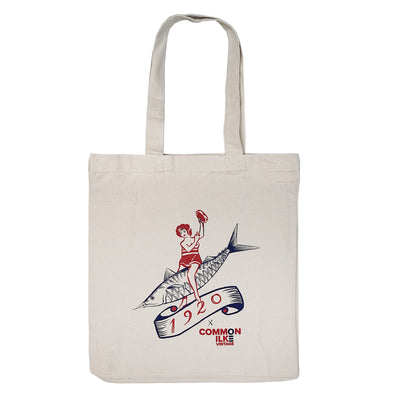 1920 Tattoo X COMMON ILKE VINTAGE Fish Lady Print Cotton Canvas Tote Bag front