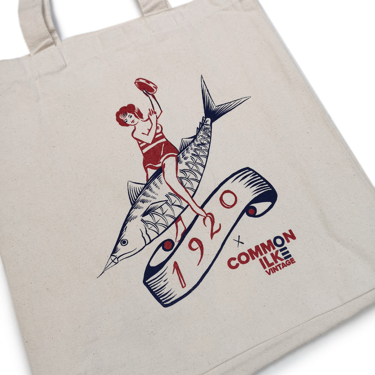 1920 Tattoo X COMMON ILKE VINTAGE Fish Lady Print Cotton Canvas Tote Bag graphic