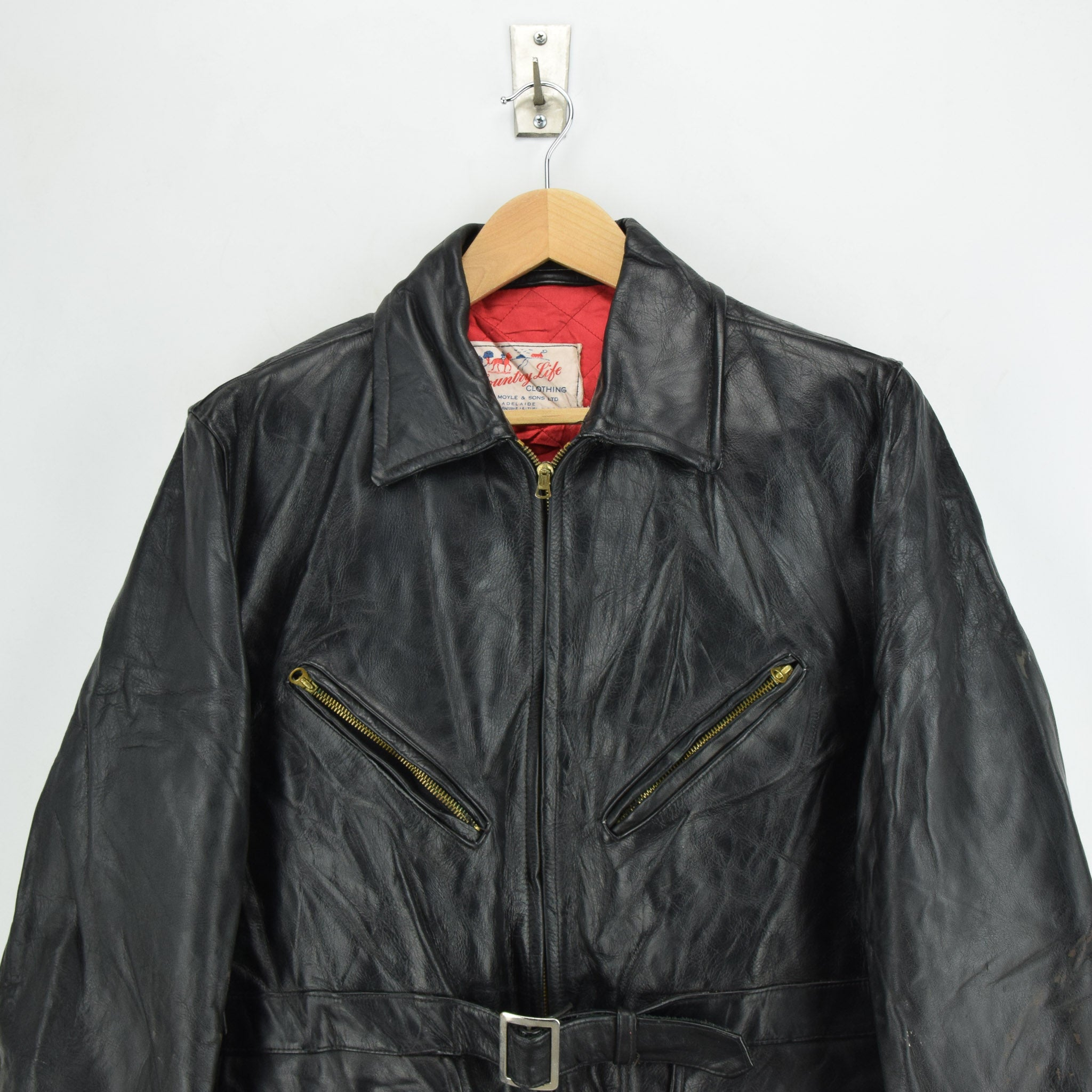 Vintage Country Life Adelaide Belted Leather Outdoor Jacket Lightning Zips M chest