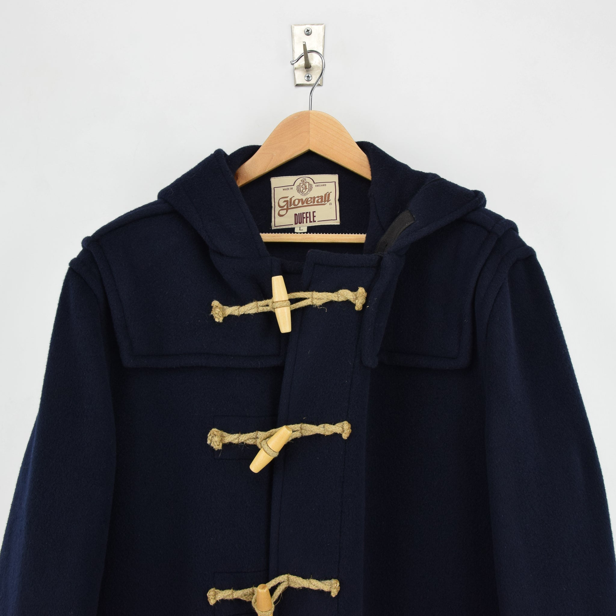 Vintage Gloverall Navy Blue Hooded Duffle Coat Jacket Made in England L / XL chest