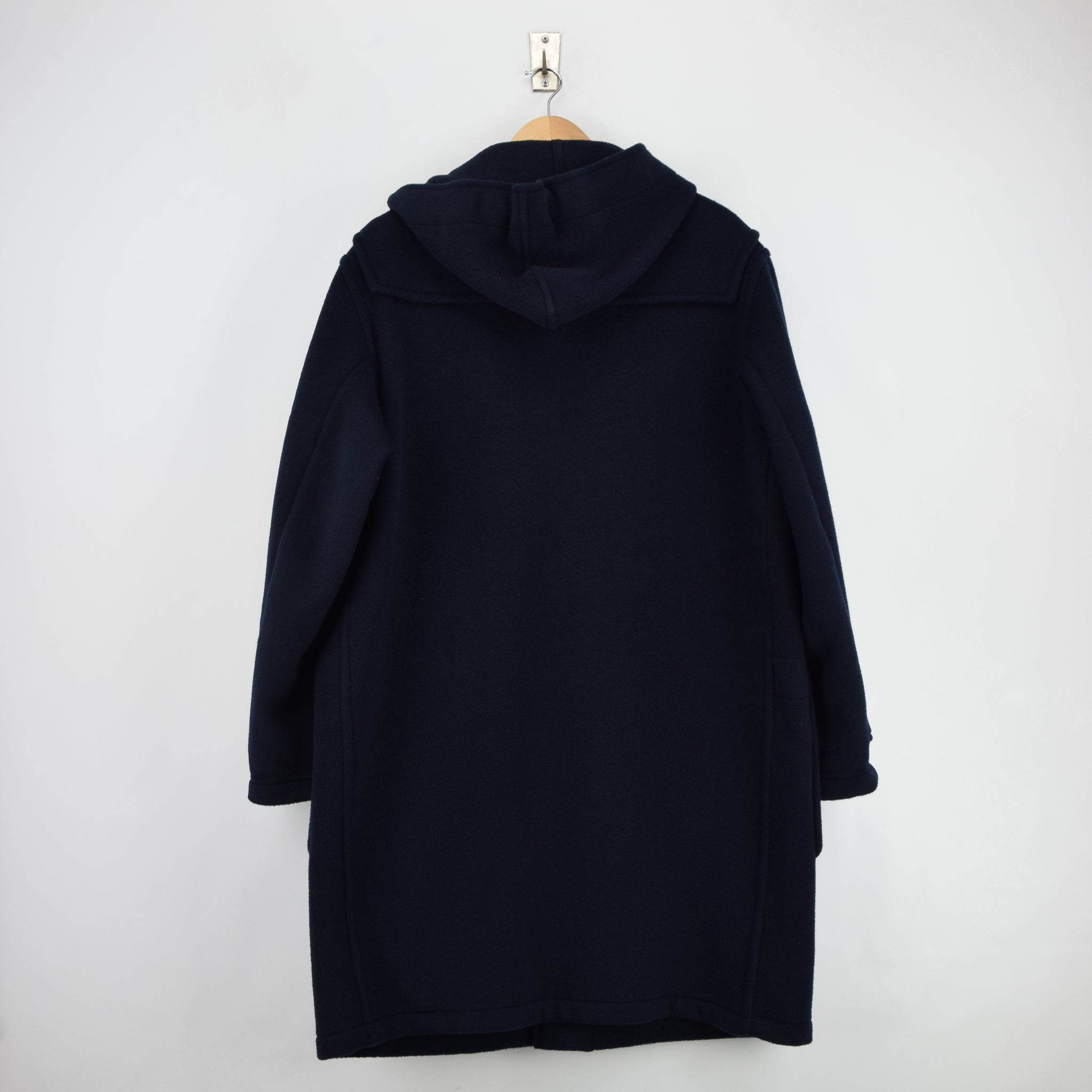 Vintage Gloverall Navy Blue Hooded Duffle Coat Jacket Made in England L / XL back