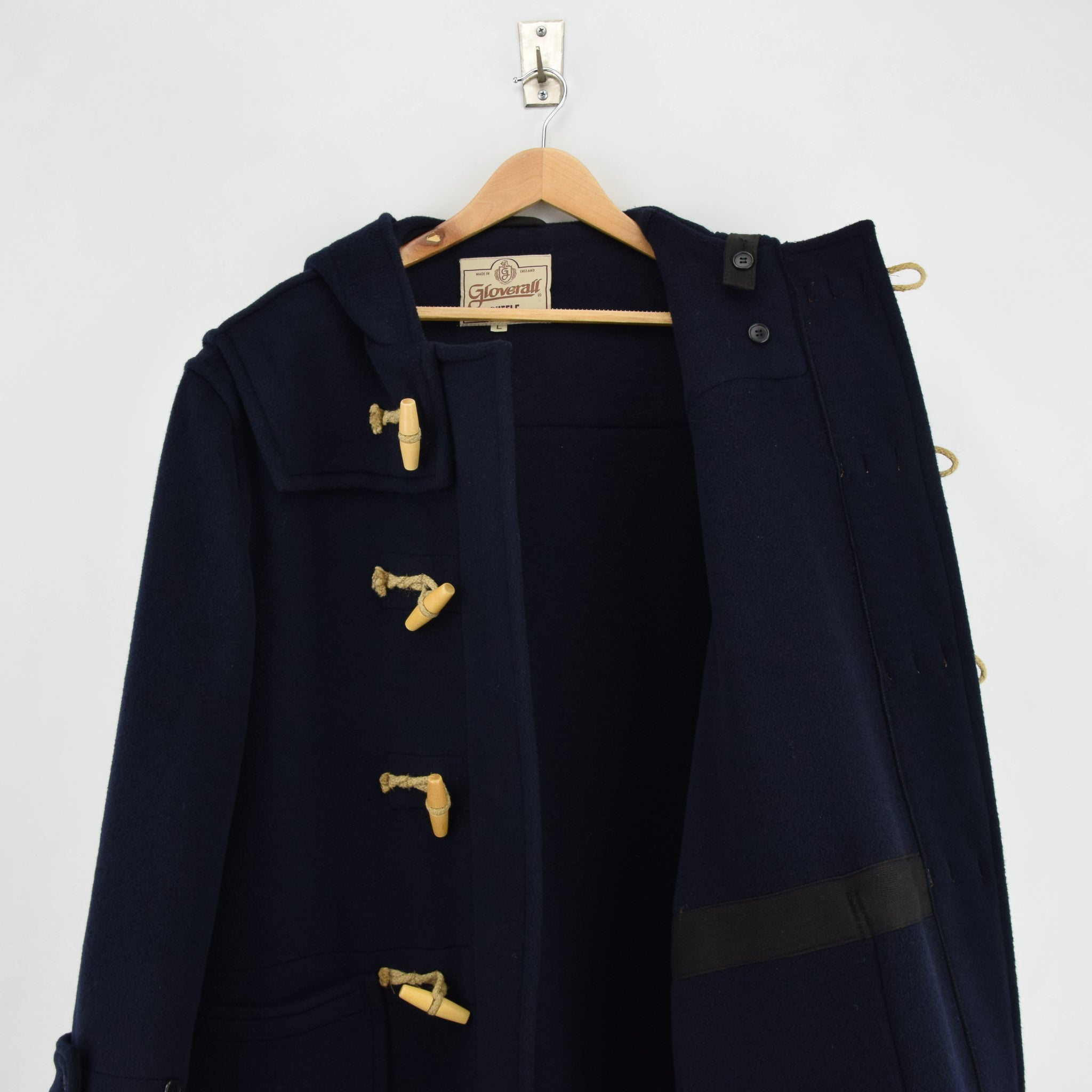 Vintage Gloverall Navy Blue Hooded Duffle Coat Jacket Made in England L / XL lining