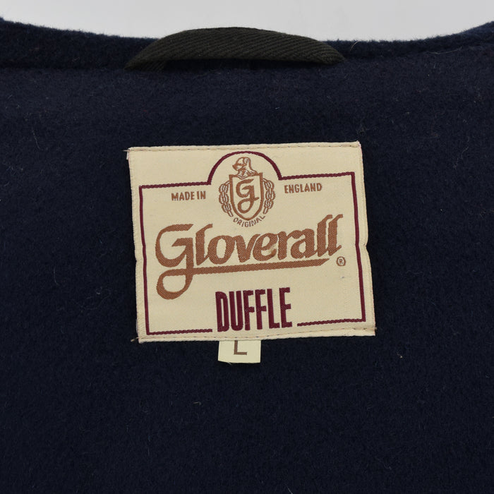 Vintage Gloverall Navy Blue Hooded Duffle Coat Jacket Made in England L / XL label