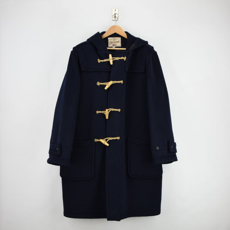 Vintage Gloverall Navy Blue Hooded Duffle Coat Jacket Made in England L / XL front