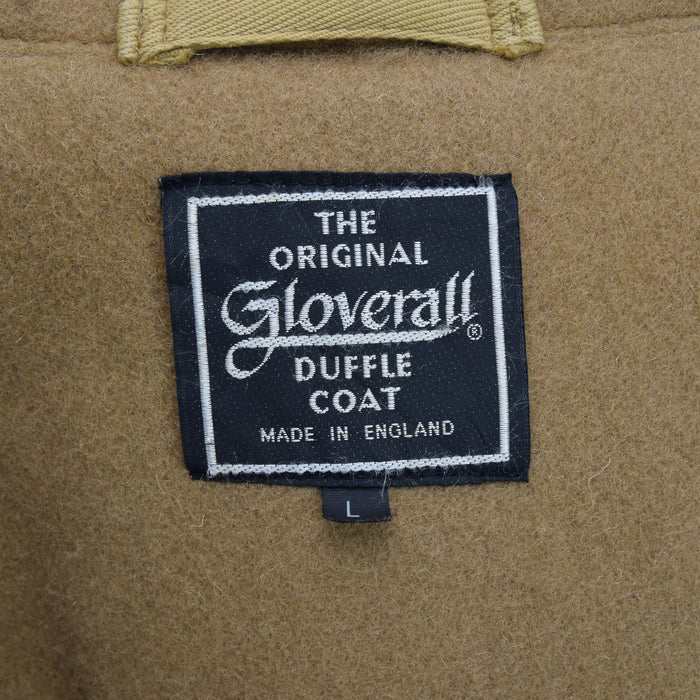 Vintage Gloverall Tan Brown Hooded Duffle Coat Jacket Made in England L label