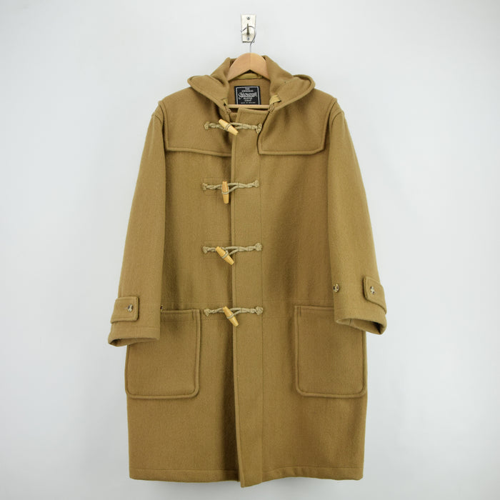 Vintage Gloverall Tan Brown Hooded Duffle Coat Jacket Made in England L front