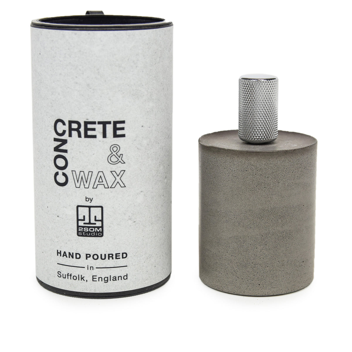 Concrete & Wax Candle Snuffer In Grey PACKAGING