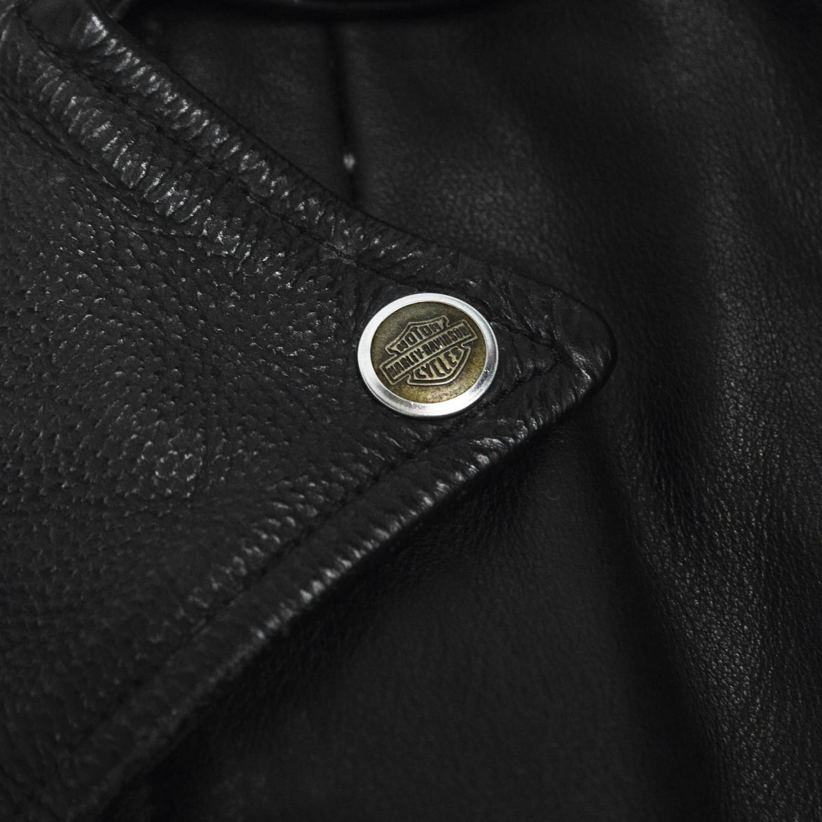 Vintage 90s Harley Davidson Made in USA Black Leather Biker Motorcycle Jacket M collar button