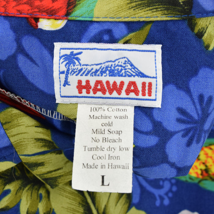 Vintage Hawaiian Beach Aloha Holiday Shirt Made in USA Short Sleeve L label