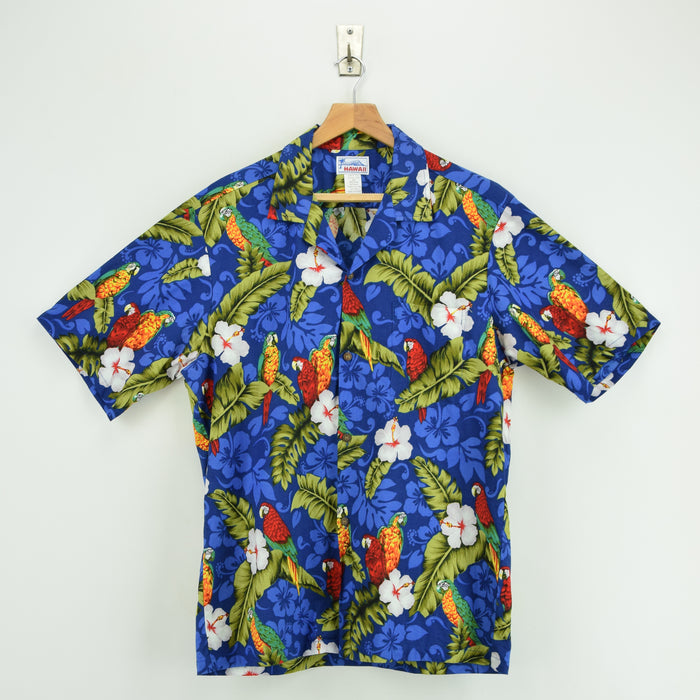 Vintage Hawaiian Beach Aloha Holiday Shirt Made in USA Short Sleeve L front