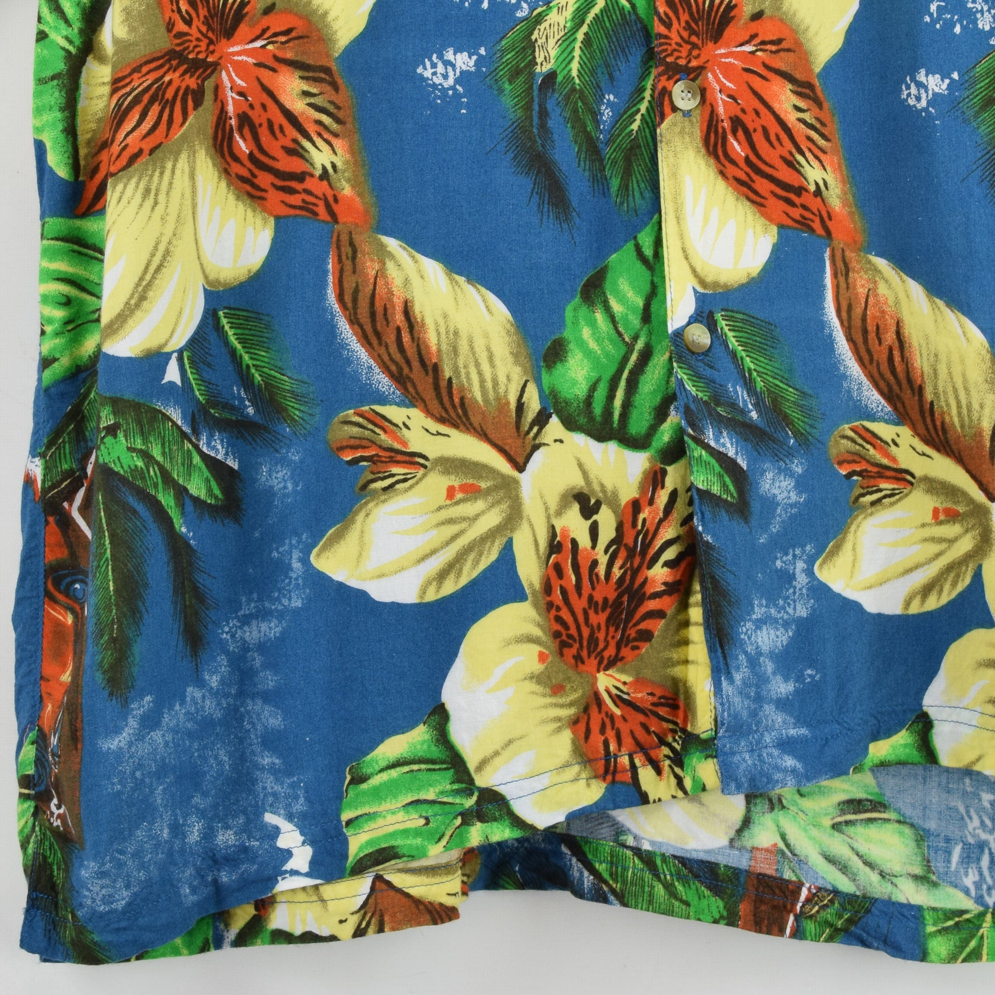 Vintage Thums Up Hawaiian Beach Aloha Holiday Shirt Short Sleeve L front hem