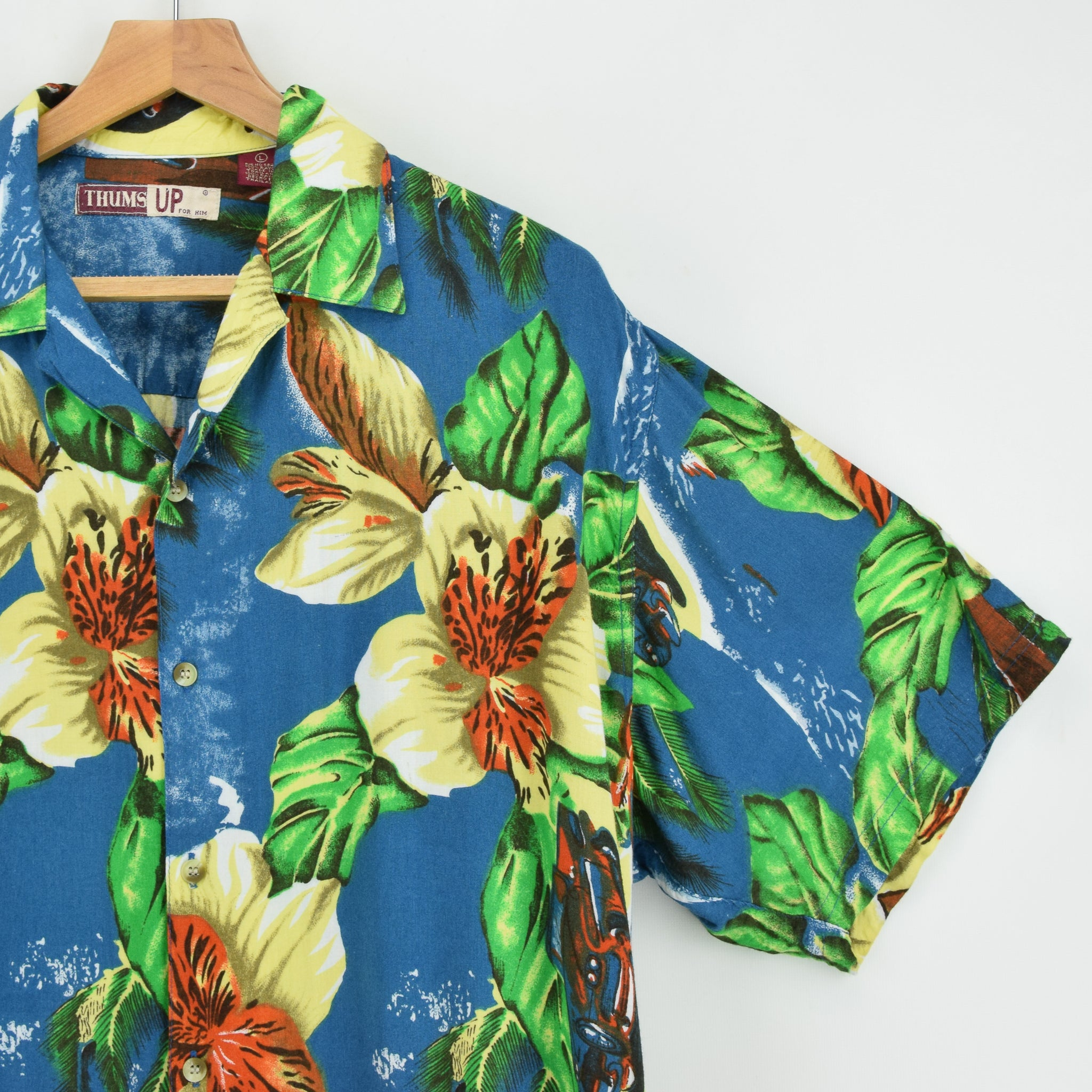 Vintage Thums Up Hawaiian Beach Aloha Holiday Shirt Short Sleeve L chest