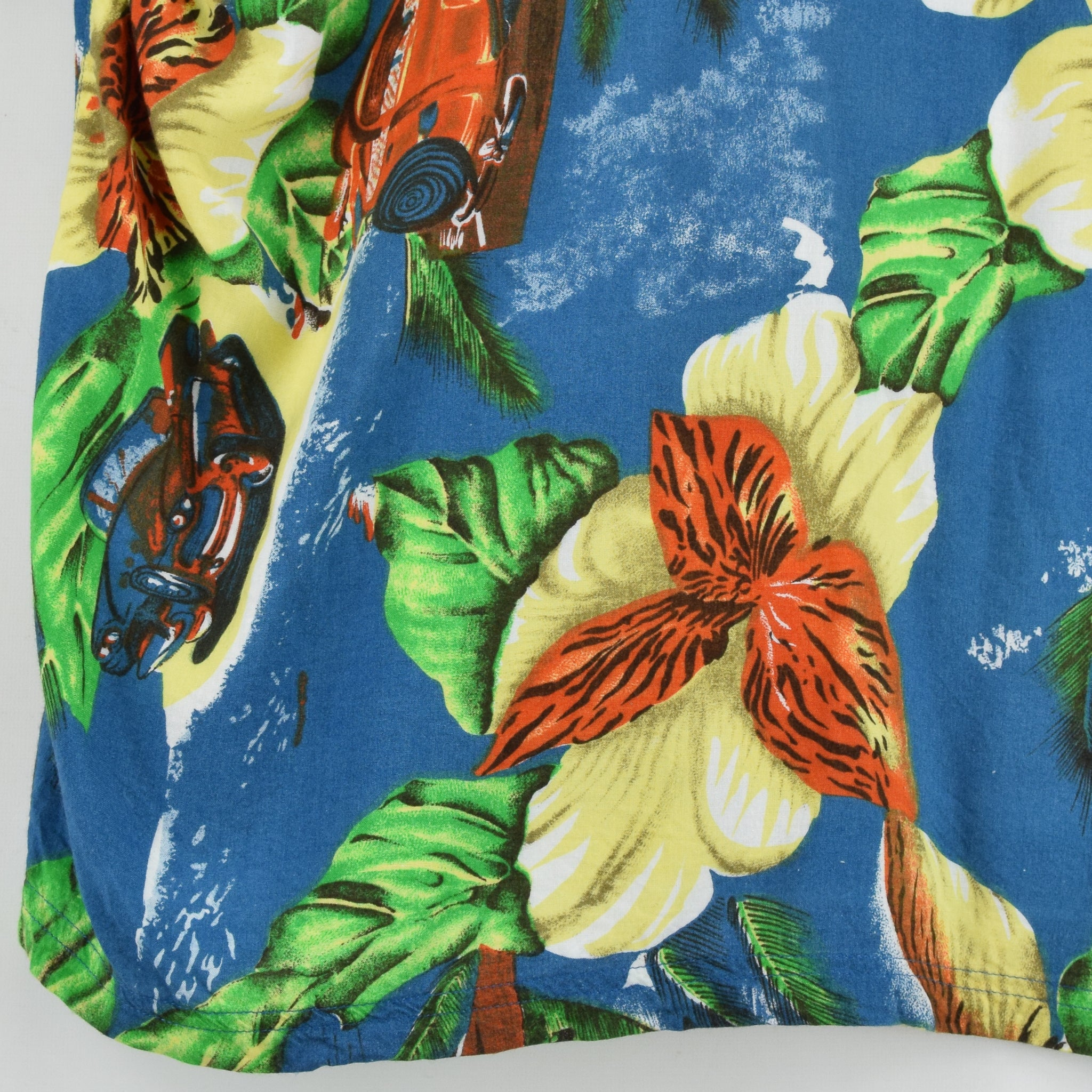 Vintage Thums Up Hawaiian Beach Aloha Holiday Shirt Short Sleeve L back hem