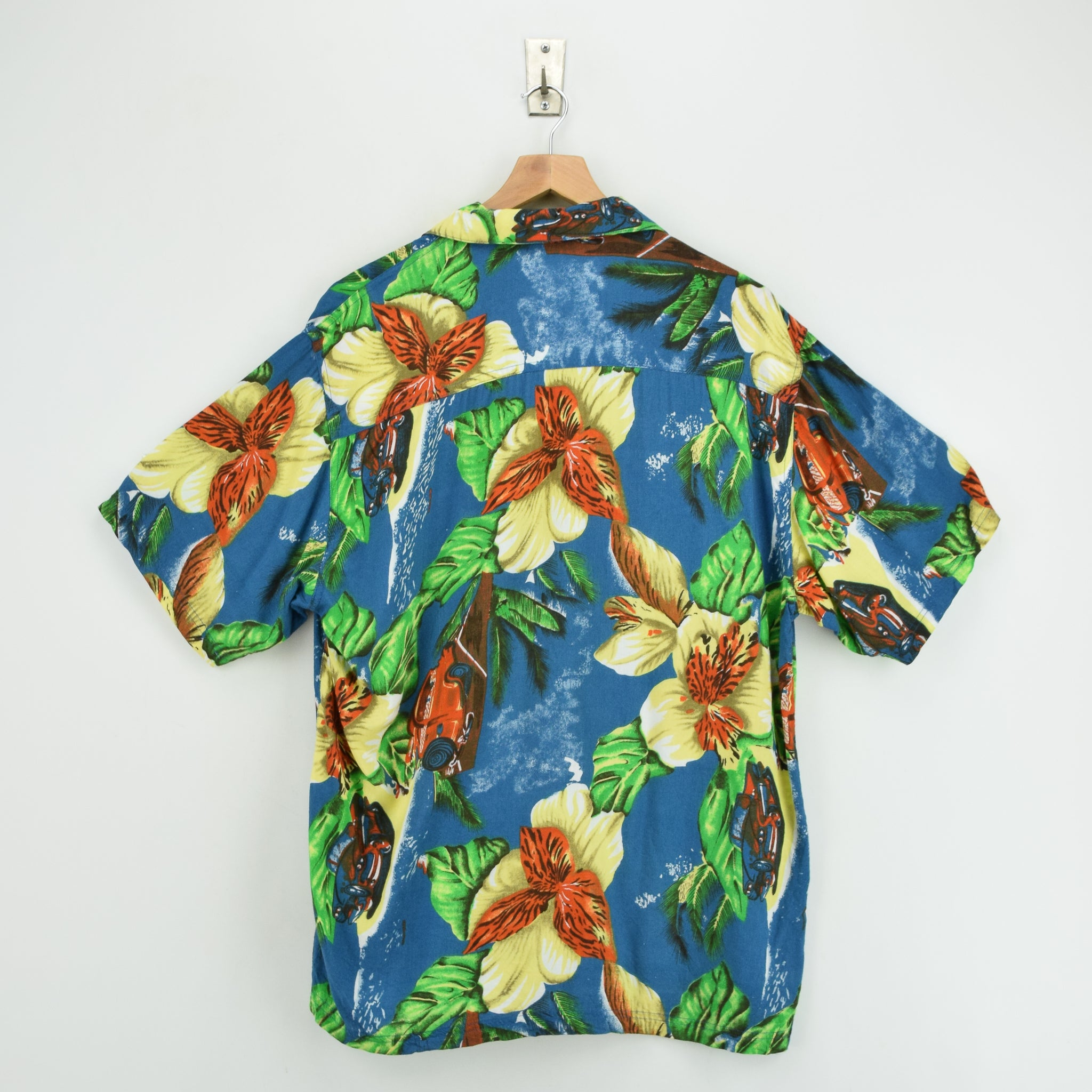 Vintage Thums Up Hawaiian Beach Aloha Holiday Shirt Short Sleeve L back