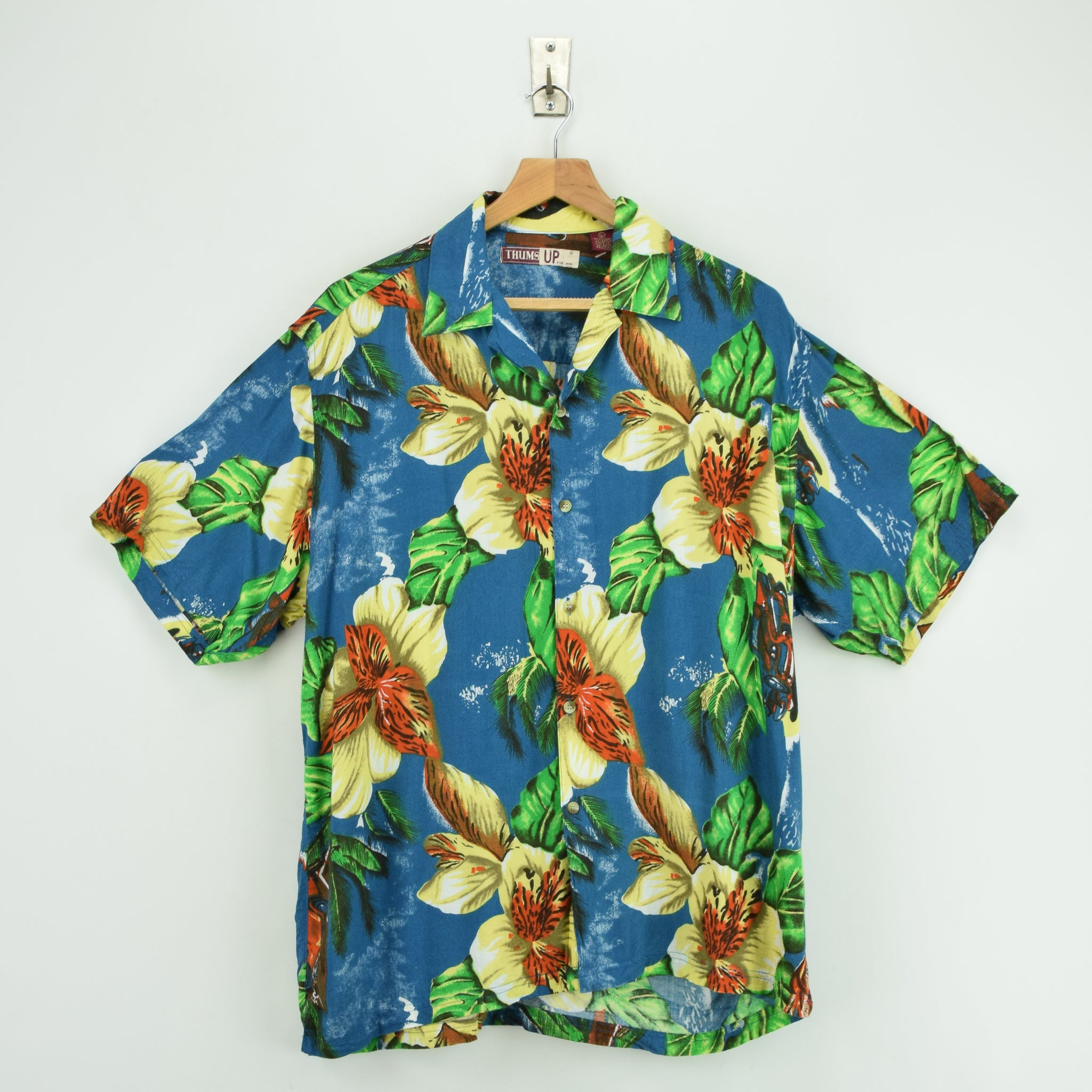 Vintage Thums Up Hawaiian Beach Aloha Holiday Shirt Short Sleeve L front