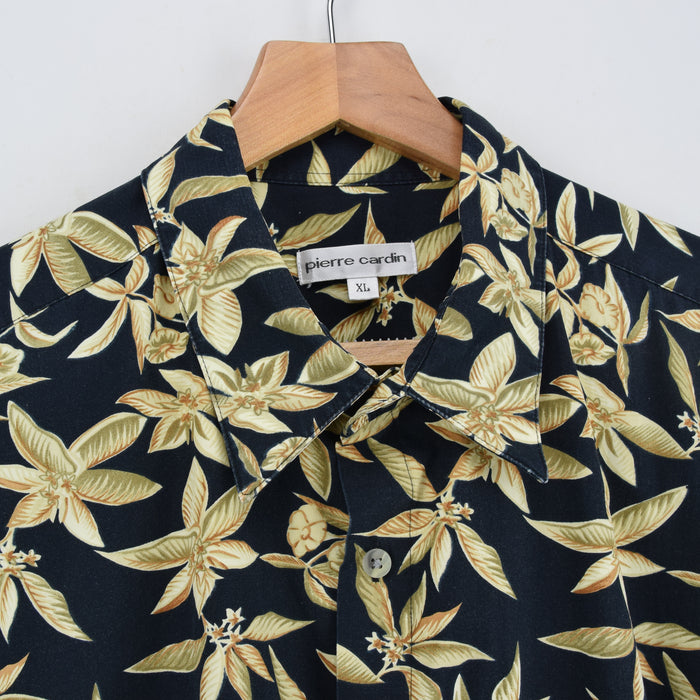 Vintage Hawaiian Beach Aloha Holiday Tropical Cotton Shirt Short Sleeve XL / XXL collar