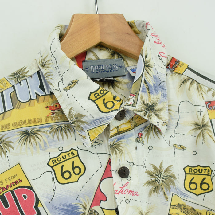 Vintage Hawaiian Beach Aloha Holiday Route 66 Shirt Made in USA Short Sleeve L collar