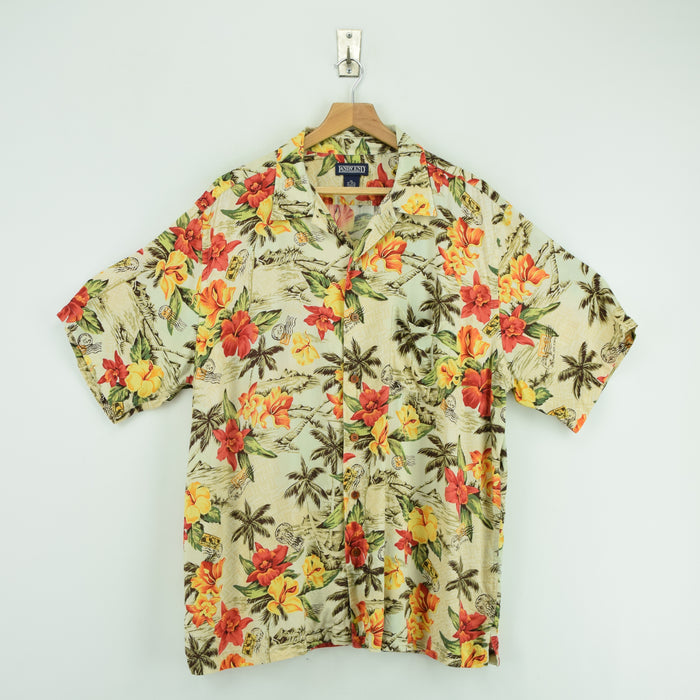 Vintage Hawaiian Beach Aloha Holiday Tropical Rayon Shirt Short Sleeve XL / XXL front