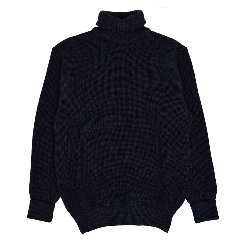 Heimat U Boat Roll Neck Sweater Ink Blue Front