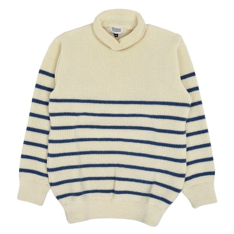 Heimat Mariner Mini Roll Neck Sweater Seashell Trail Blue  Front