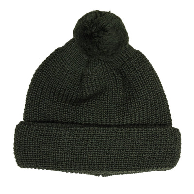 Heimat Wool U Boat Bobble Beanie Military Green Front