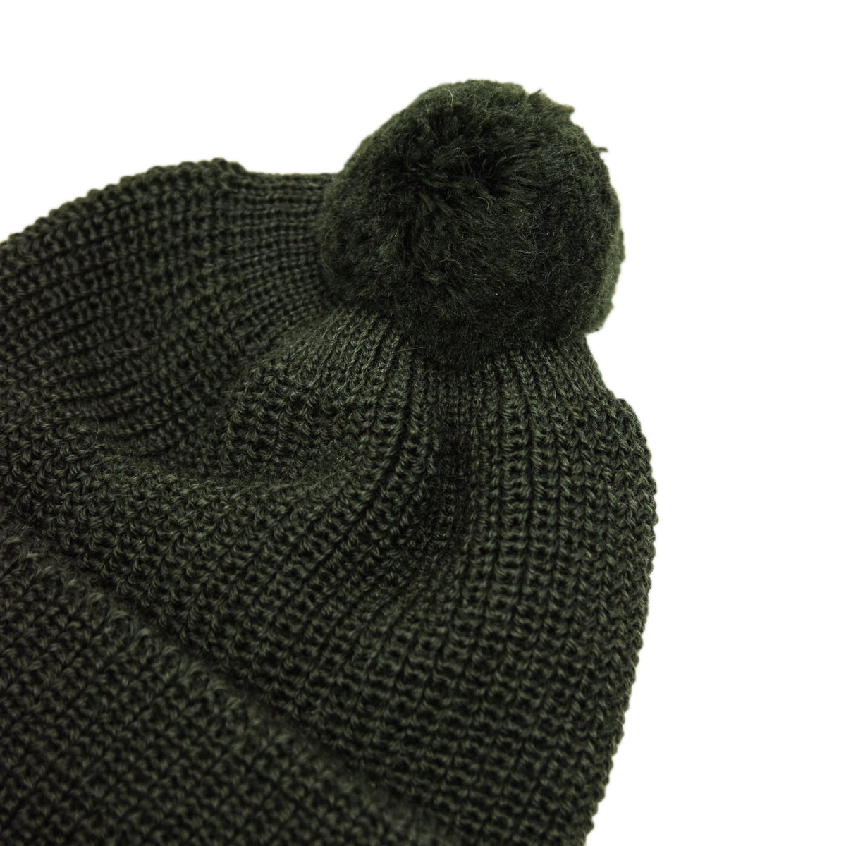 Heimat Wool U Boat Bobble Beanie Military Green Detail