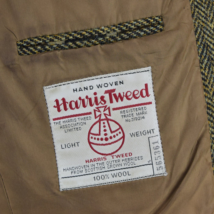 Vintage Harris Tweed Sports Jacket Brown Herringbone Country Blazer 42 internal pocket label