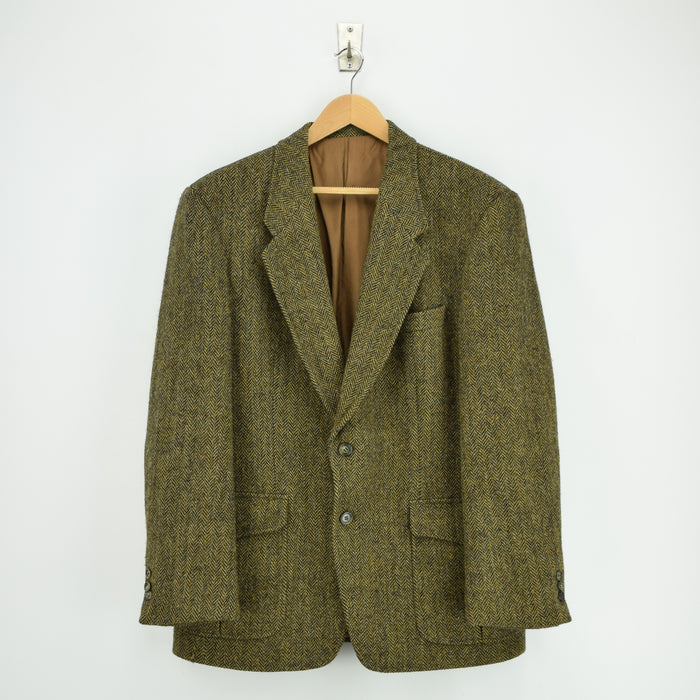 Vintage Harris Tweed Sports Jacket Brown Herringbone Country Blazer 42 front