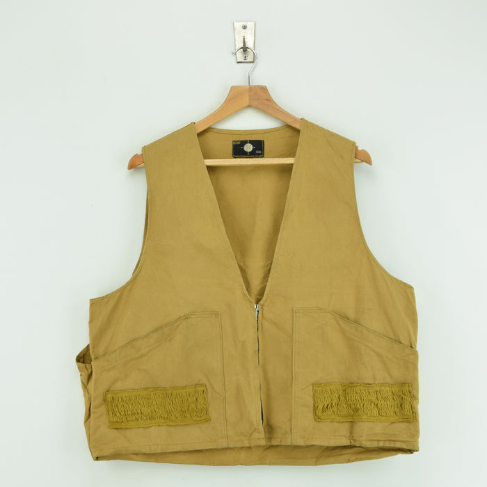 Vintage Sears Roebucks Tan Brown Hunting Shooting Vest Waistcoat Made in USA L FRONT