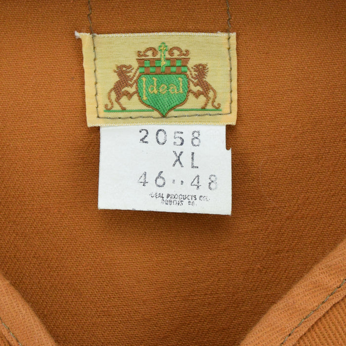 Vintage Ideal Products Tan Brown Hunting Shooting Vest Waistcoat Made in USA XL label