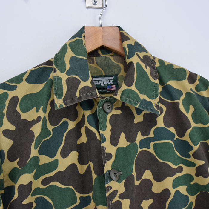 Vintage Saftbak Camouflage Hunting Shooting Cotton Shirt Jacket Made in USA S collar