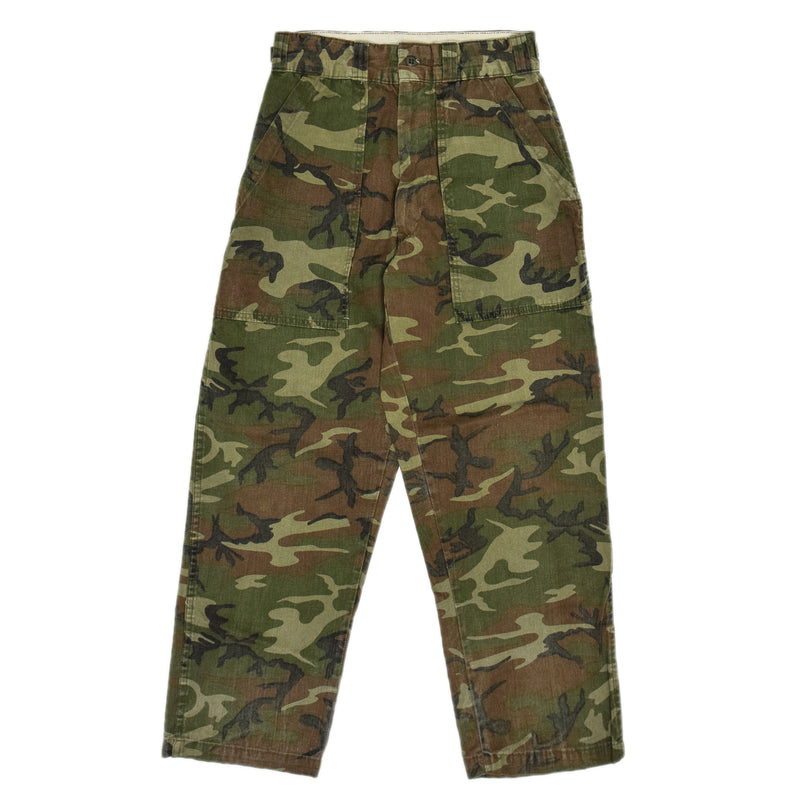 Vintage Chief USA Woodland Camo Hunting Fatigue Pants Field Trousers 28 - 30 W front