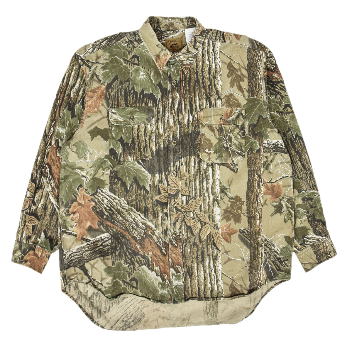 Vintage Duxbak Tree Leaf Camo Hunting Shooting Cotton Long Sleeve Shirt XL front