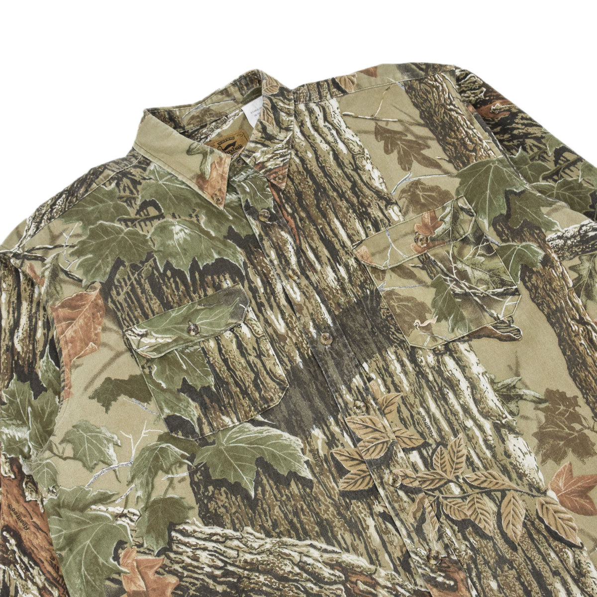 Vintage Duxbak Tree Leaf Camo Hunting Shooting Cotton Long Sleeve Shirt XL chest
