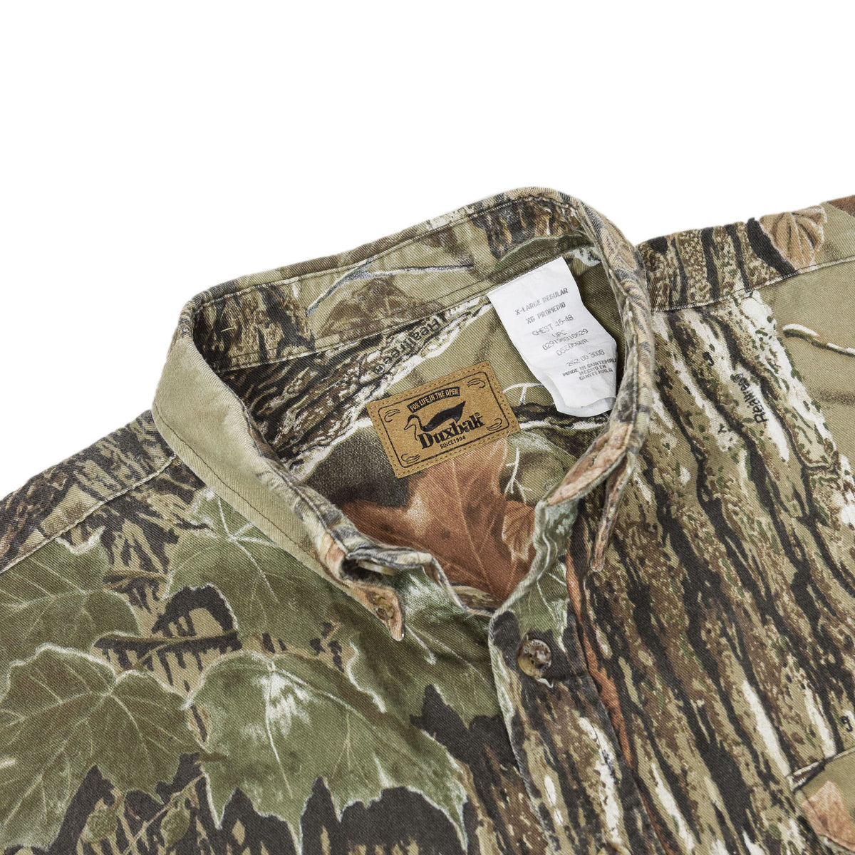 Vintage Duxbak Tree Leaf Camo Hunting Shooting Cotton Long Sleeve Shirt XL label