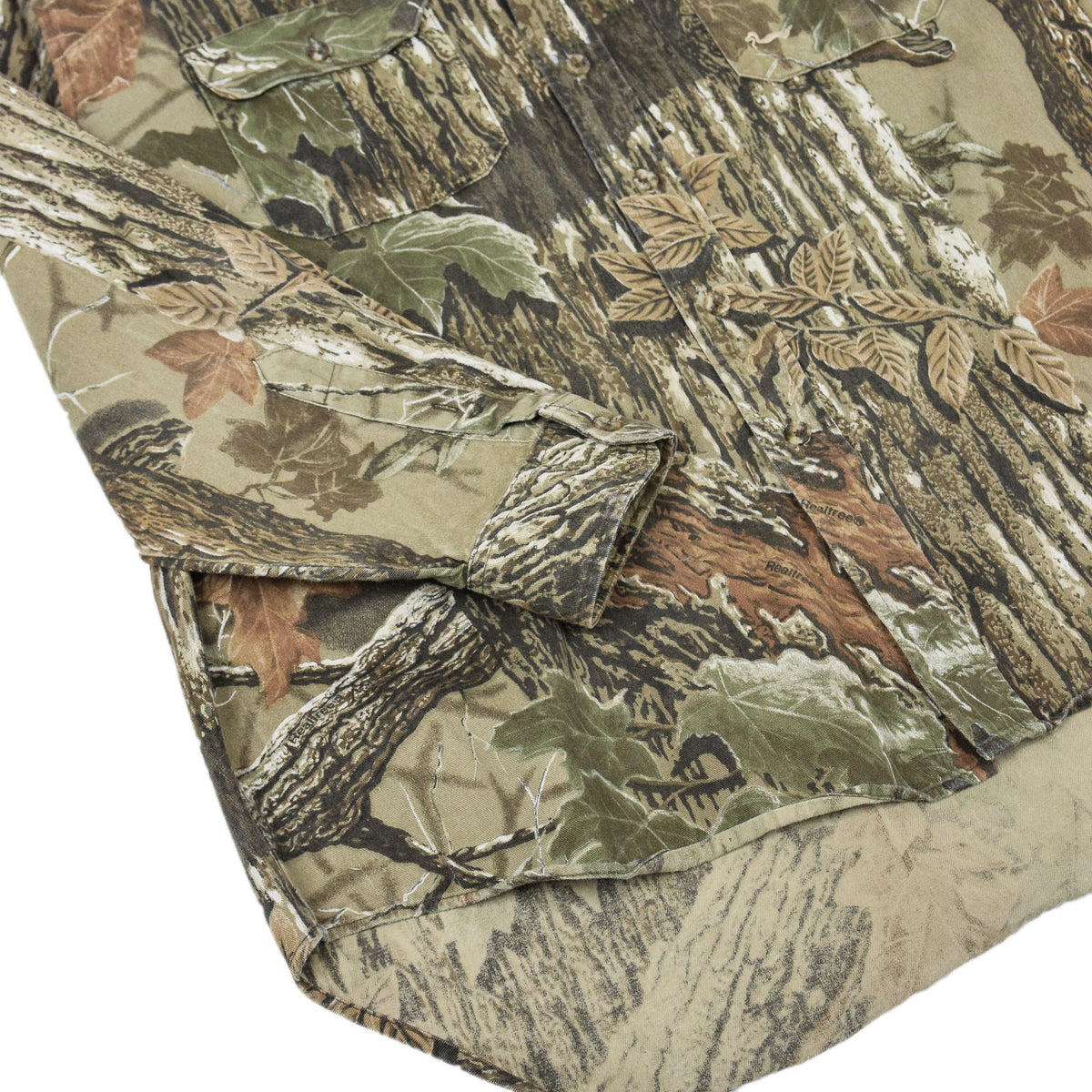 Vintage Duxbak Tree Leaf Camo Hunting Shooting Cotton Long Sleeve Shirt XL cuff