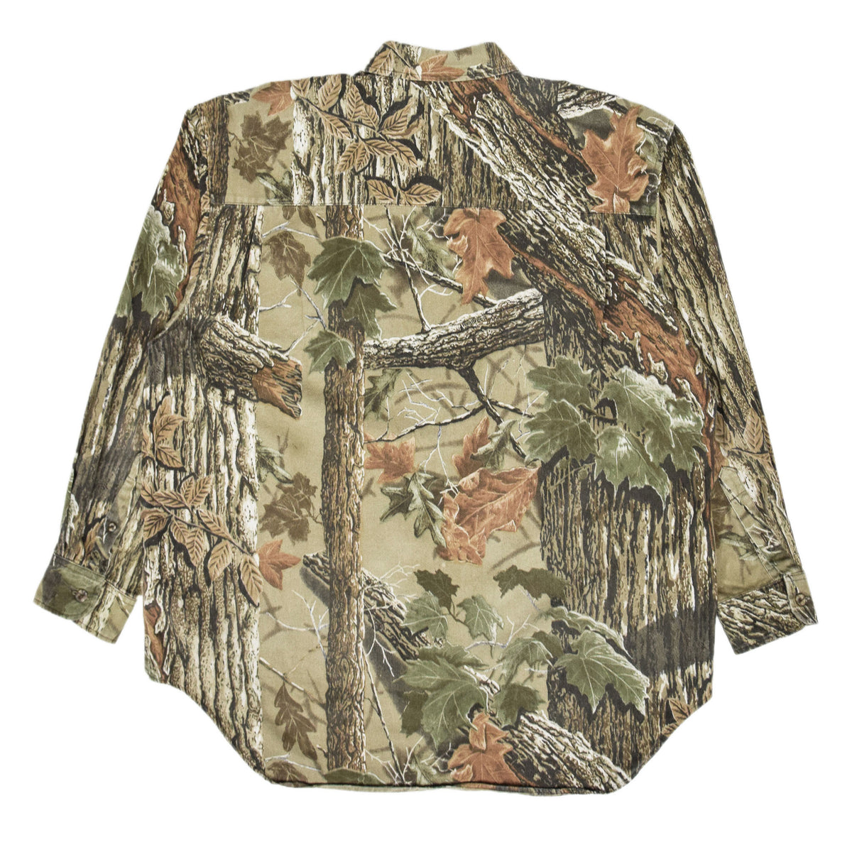 Vintage Duxbak Tree Leaf Camo Hunting Shooting Cotton Long Sleeve Shirt XL back