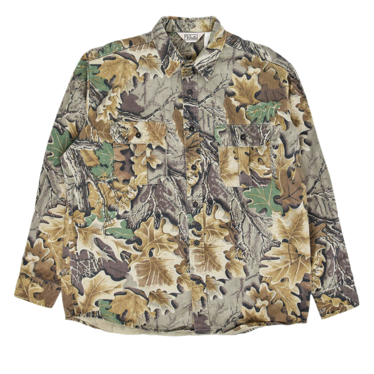 Vintage Wall's Leaf Camouflage Hunting Shooting Cotton Long Sleeve Shirt XL front