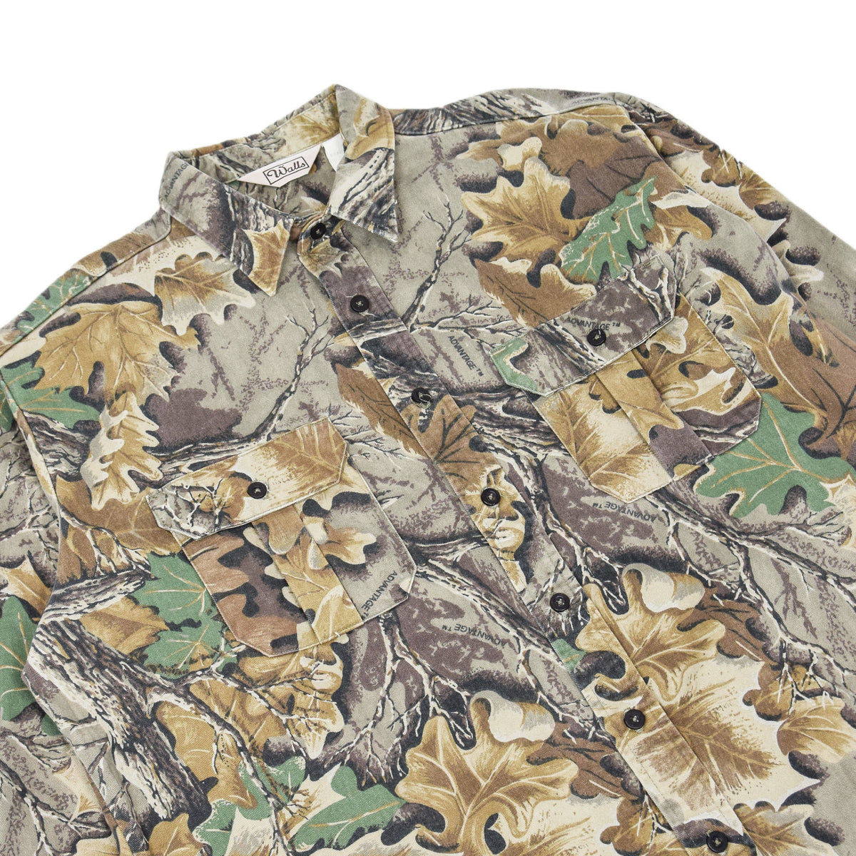 Vintage Wall's Leaf Camouflage Hunting Shooting Cotton Long Sleeve Shirt XL chest