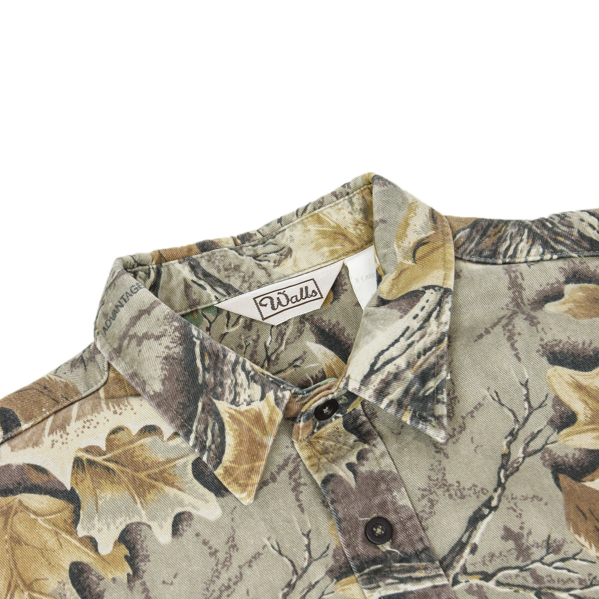 Vintage Wall's Leaf Camouflage Hunting Shooting Cotton Long Sleeve Shirt XL collar detail