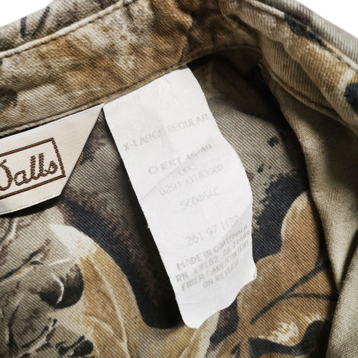 Vintage Wall's Leaf Camouflage Hunting Shooting Cotton Long Sleeve Shirt XL label