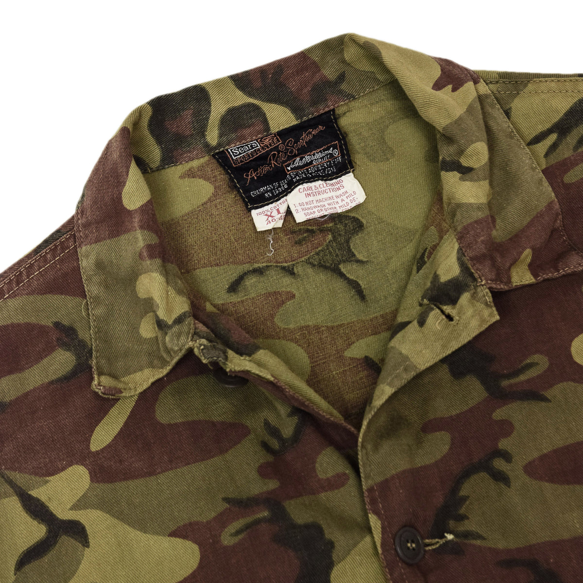 Vintage Sears Woodland Camo Cotton Hunting Shirt Jacket XL collar