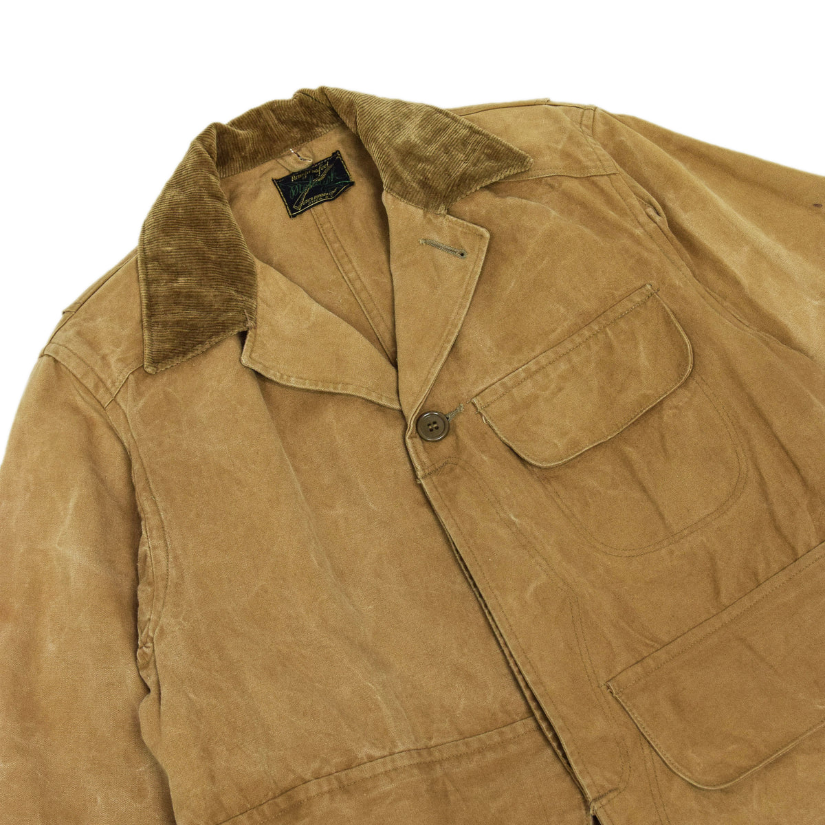 Vintage 1930s Mohawk Duxbak NY Hunting Tan Canvas Shooting Field Jacket S / M CHEST