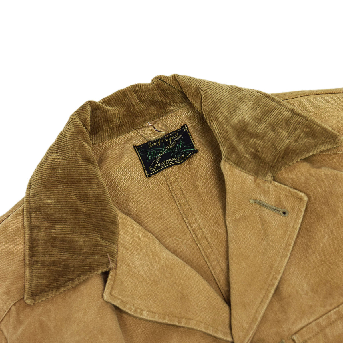 Vintage 1930s Mohawk Duxbak NY Hunting Tan Canvas Shooting Field Jacket S / M BRANDED PATCH